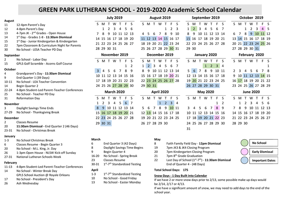 Yearly Calendar - Green Park Lutheran School